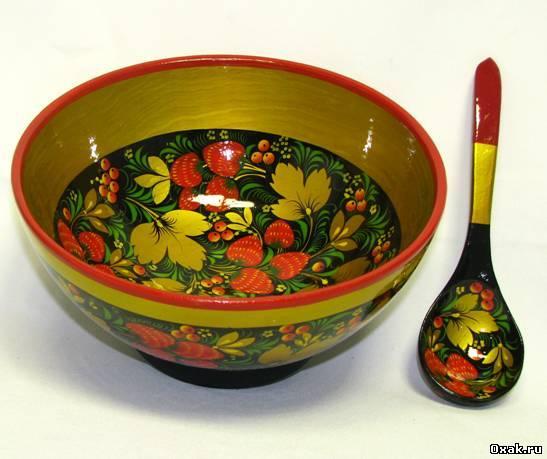 Народная посуда хохломской росписи